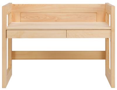 ヒノキ学習机、スタイリッシュな高さ調整式