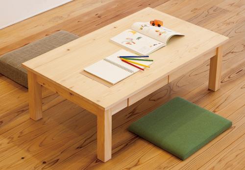 ヒノキ無垢のローテーブル