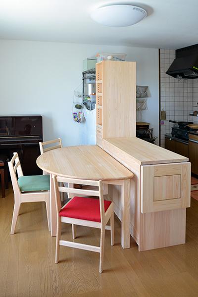 ヒノキ無垢 カウンター食器棚2