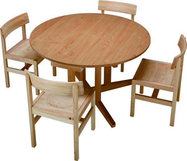 ひのき無垢 Cテーブルセット1