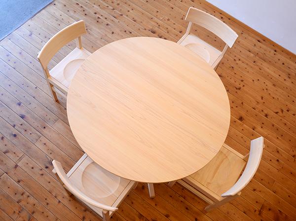ひのき無垢 Cテーブルセット4