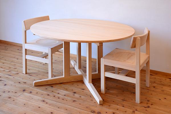 ひのき無垢 Cテーブルセット5