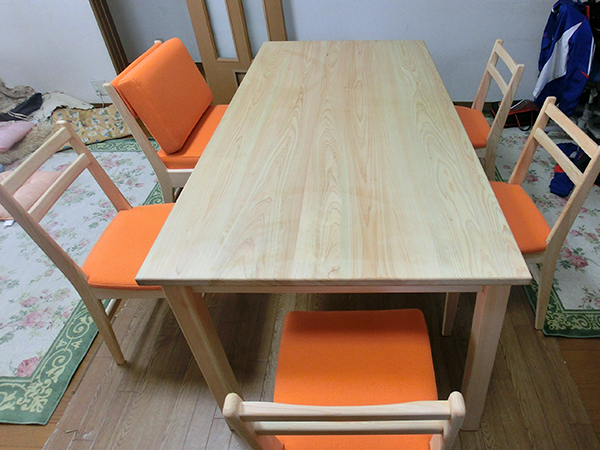 ひのき無垢 Pテーブルセット