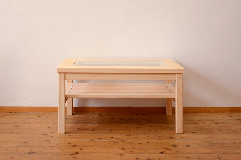 ひのき無垢 ガラステーブル1
