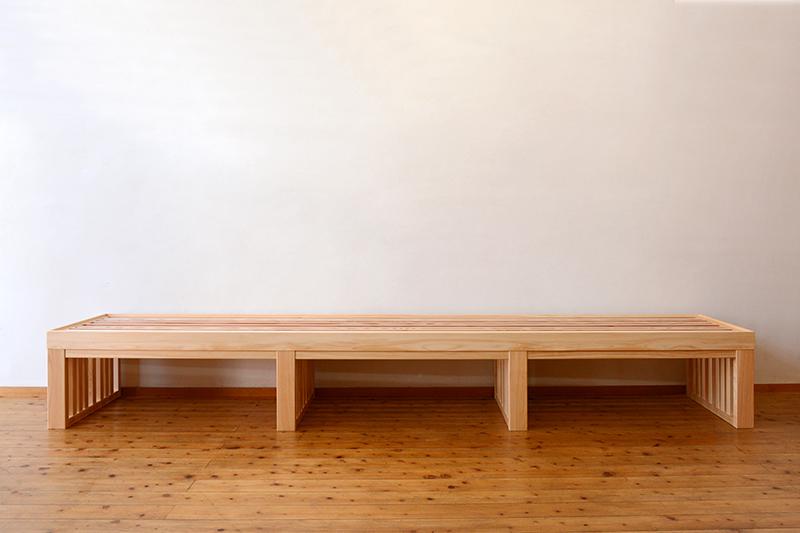 お茶ミュージアム ひのき無垢 格子テーブル1